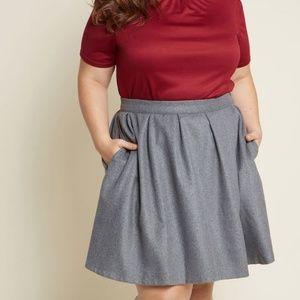 Modcloth Gray Brisk-Taker Wool Plus Mini Skirt 2X
